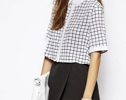 Lavish Alice Wrap Back Shirt in Grid Print