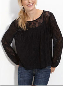 WallpapHer Long Sleeve Lace Top