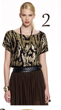 Vince Camuto Sequin Animal Boat Neck Tee