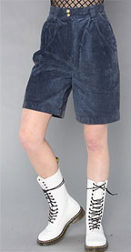 Vintage Navy Blue Suede Shorts