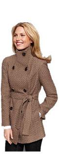 Calvin Klein Basket Weave Belted Wool Coat