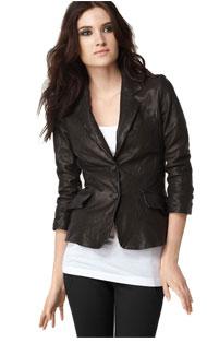 Elizabeth Shrunken Leather Blazer