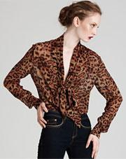 Rachel Zoe Long Sleeve Printed Plunge Tie Collar Blouse