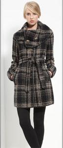 Rachel Zoe Leather Trim Belted Plaid Coat
