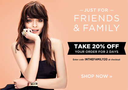 Shopbop Friends and Family Sale - Save 20% with code INTHEFAMILY20